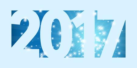 gift season: New Year 2017 card with shiny stars - illustration