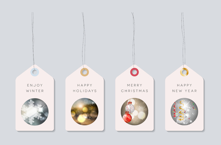 paper tags: Set of holiday paper tags with pictures on winter, christmas and new year theme. Vector illustration. Illustration