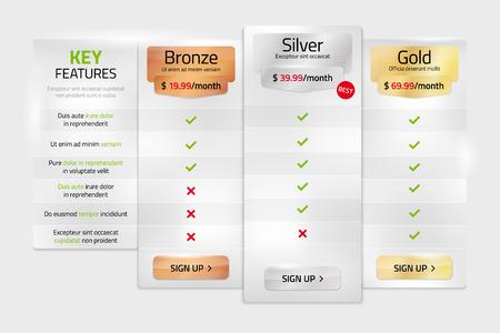 Los planes de precios en el estilo de metal para los sitios web y aplicaciones - plantilla con texto de ejemplo en una capa independiente. Ilustración del vector. Foto de archivo - 60807511
