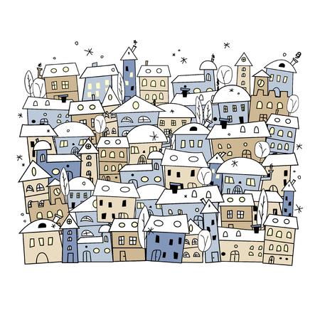snow landscape: Cartoon of abstract winter village for christmas design - illustration Illustration