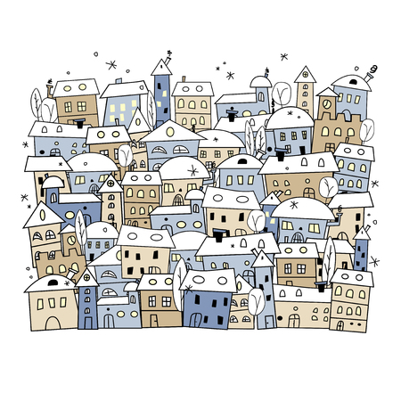 Fumetto del villaggio di inverno astratto per la progettazione di Natale - illustrazione