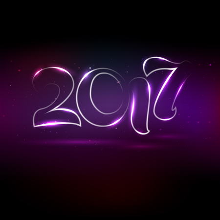 Glowing lettering 2017 on violet background. Greeting card for New Year 2017 with place for your text. illustration.