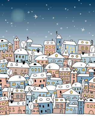 snow landscape: Card with abstract snowy village under night sky for your christmas and new year design - illustration Illustration