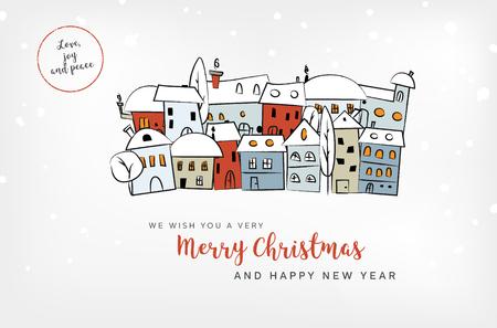 Frohe Weihnachten und Happy New Year-Karte mit abstrakten verschneiten Dorf und Wünsche - Vektor-Illustration