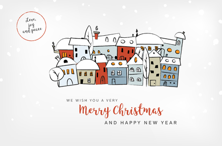 Merry Christmas and Happy New Year card with abstract snowy village and wishes - vector illustration