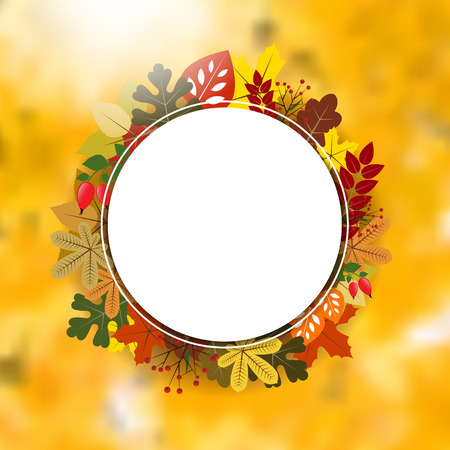 autumnal: Blank circle frame on autumnal background with leaves - place for your text. Vector illustration.