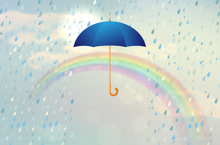 weatherproof: Blue opened umbrella with rain and rainbow in the cloudy and partly sunny sky - vector illustration