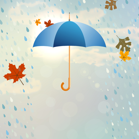 weatherproof: Blue opened umbrella with rain and falling leaves in the cloudy and partly sunny sky - vector illustration