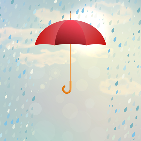 Red opened umbrella with rain in the cloudy and partly sunny sky - vector illustration