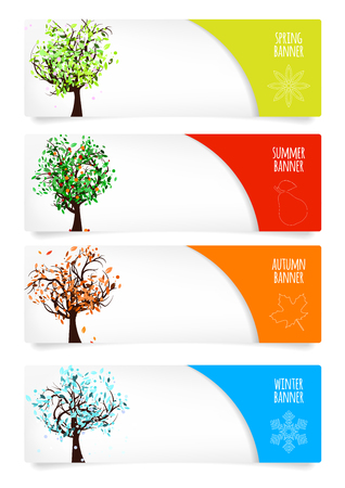 winter garden: Collection of paper banners with four season trees, season icons, place for your text and drop shadows on white background – vector illustration