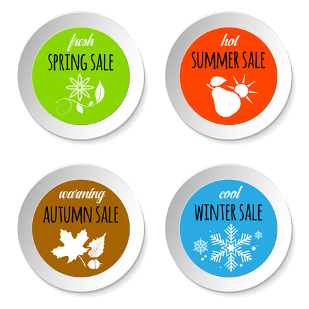 sale icons: Set of circle paper badges with four season sale nature abstract icons - isolated on white background. Vector illustration.