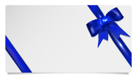 gift paper: Paper gift voucher with blue bow - isolated on white. Vector illustration. Illustration