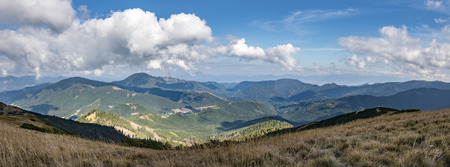 panoramic sky: Panoramic view of amazing mountain landscape under blue sky with clouds - Low Tatras National park, Slovakia, Europe