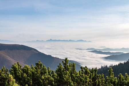 inversion: Autumn weather inversion in Slovak Low Tatras National Park mountains