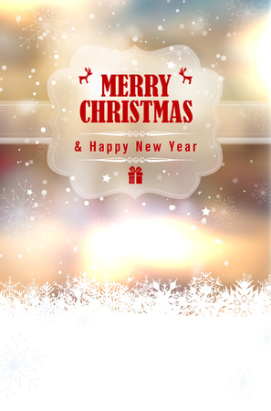text year: Merry Christmas and Happy New Year greeting card with blurred shiny background, snow and place for your text - vector illustration