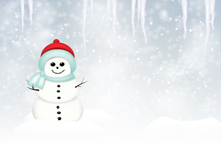 icicles: Smiling snowman in winter landscape with snow, snowflakes and icicles - vector illustration Illustration