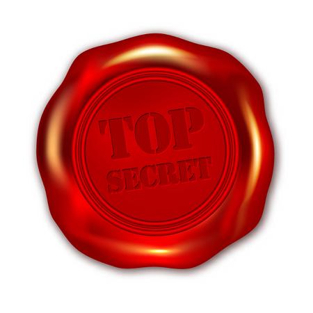 Red TOP SECRET wax seal on white background - vector illustration Vector Illustration