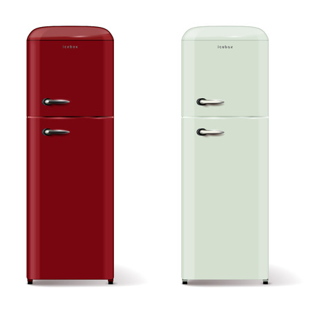icebox: Two modern refrigerators in retro style - isolated on white background. Vector illustration.