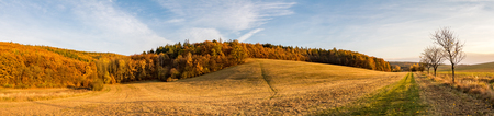 panoramic sky: Panoramic view of colorful autumnal landscape with pasture, forest and blue sky Stock Photo