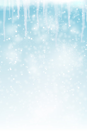 Abstract winter background with snowflakes and icicles � vector illustration