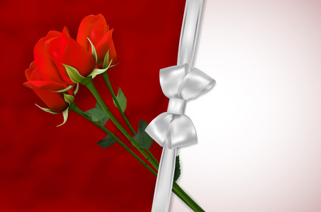 red rose bouquet: Blank card with red roses and silver ribbon - place for your text. Vector illustration. Illustration