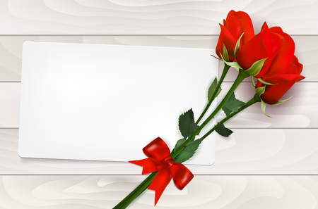 red rose bouquet: Blank paper card and red roses on wooden background - vector illustration