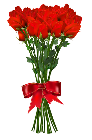isolated on red: Bouquet of red roses with ribbon - isolated on white background. Vector illustration.