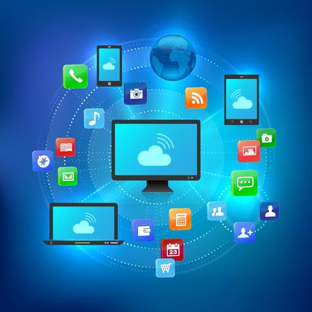Cloud-Lösung Konzept mit verschiedenen Geräten und Symbole von Dienstleistungen - Vektor-Illustration