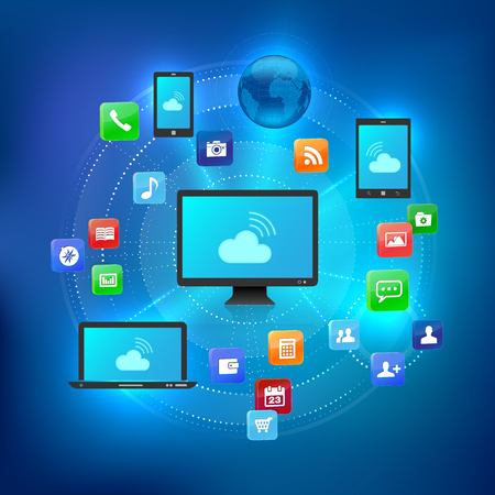 Cloud solution concept with different devices and icons of services - vector illustration