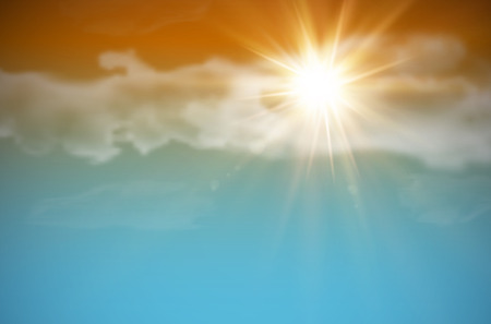 Sky with clouds and shiny sun - vector illustration