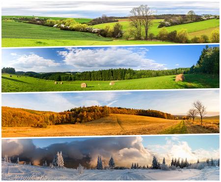Vier seizoen natuur collage van horizontale banners. Alle gebruikte foto's behoren tot mij.