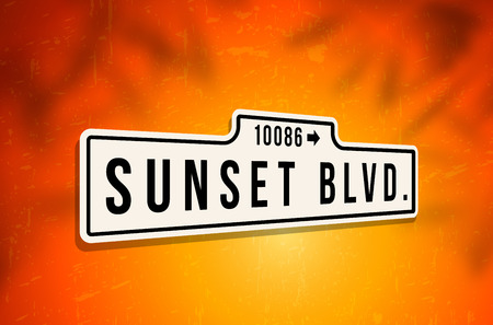 boulevard: Metal sign of Sunset Boulevard on background with grungy scratches and shadows - vector illustration