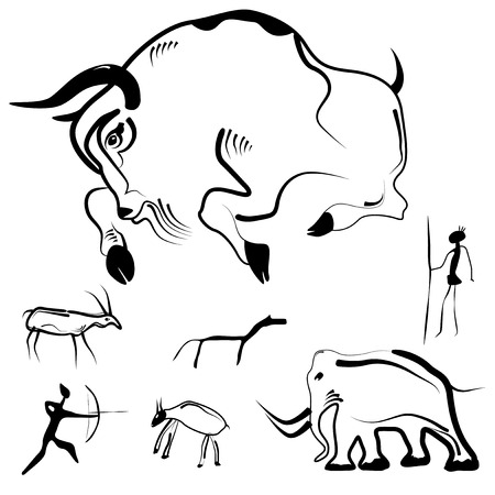 Set of abstract primitive art - stylized drawings of prehistoric animals and humans. Vector illustration.