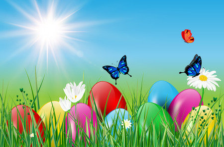 sun flowers: Spring motive with easter eggs, grass, butterflies, sun and flowers. Vector illustration.