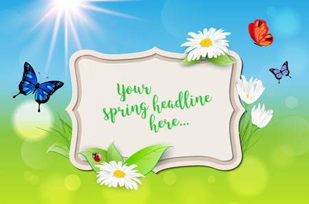 Decorative frame with spring background - plants, daisy flowers, butterflies, ladybug, sun. Place for your message. Vector illustration. Illustration