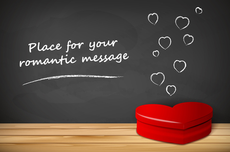 tabletop: Red heart shape on wooden tabletop and chalkboard for your romantic message - vector illustration