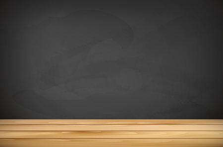 tabletop: Wooden tabletop and empty chalkboard for your text - vector illustration