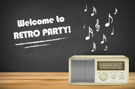 tabletop: Retro radio on wooden tabletop, chalkboard with music signs and place for your message. Vector illustration. Illustration