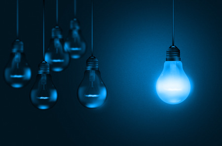 lit collection: Set of hanging realistic bulbs on dark background in a blue shade - illustration