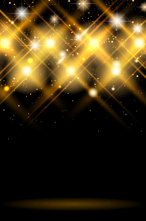 Abstract dark background with shiny golden lights - copy space for your text or object. Vector illustration. Vettoriali