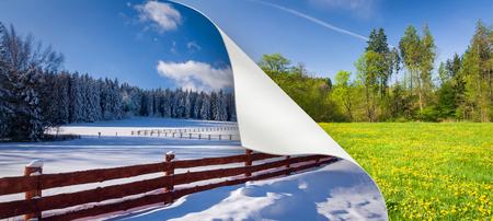 冬から春の-2 つの曲がった角紙で私の写真をコラージュへ季節の変わり目 写真素材