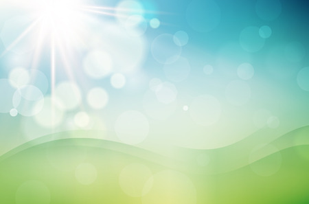Abstract spring background with sun and blurred bokeh background - vector illustration Illustration