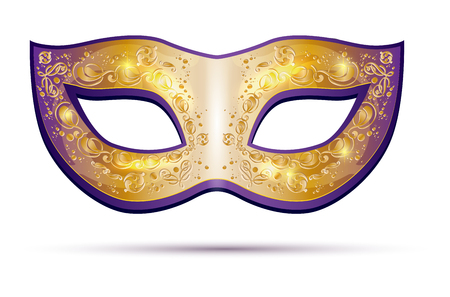 Golden and violet carnival mask isolated on white background - vector illustration Illustration
