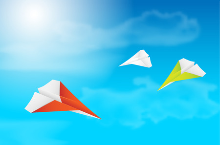 Three flying paper planes, sky, clouds and sun - vector illustration