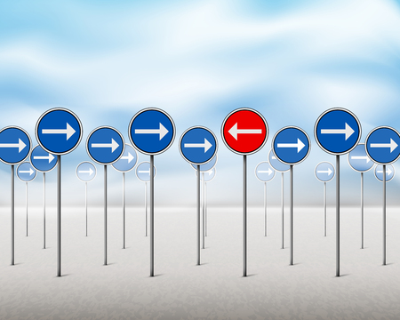 Blue signs with arrows pointing in one direction - one red sign pointing in the opposite direction. Vector illustration.