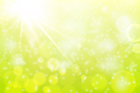 Abstract spring background with sun beams and blurred bokeh - vector illustration