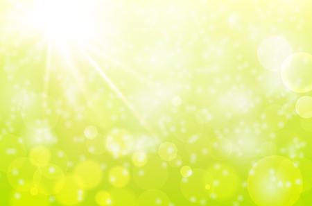 Abstrakcyjne tło wiosna z belek słonecznych i niewyraźne bokeh - ilustracji wektorowych