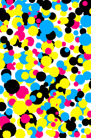 Abstract background from CMYK colored splashes - print concept. Vector illustration. Illustration