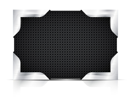 steel plate: Metal plate with steel corners on white background - place for your text. Vector illustration.