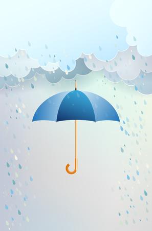 rainy season: clouds with rain illustration.